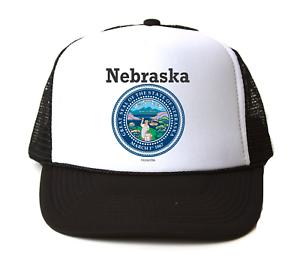 Trucker Hat Cap Foam Mesh USA State Seal Nebraska Big