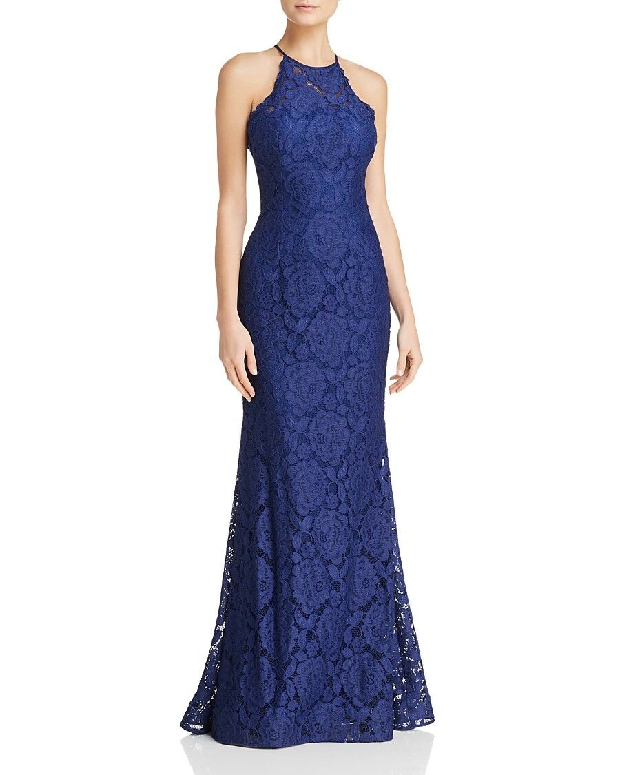 320 AQUA DRESSES WOMEN'S blueE HALTER SLEEVELESS FLORAL LACE DRESS GOWN SIZE 2