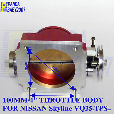 """100MM HIGH FLOW 4/"""" THROTTLE BODY FOR NISSAN SKYLINE VQ35 350Z Z33 TPS RACE RD"""