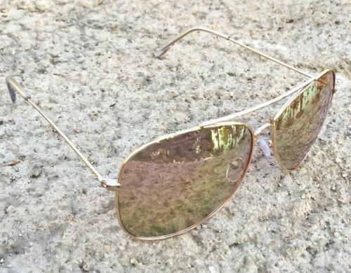 Large Rock /'N Rolla Pink Rose Yellow GOLD LIGHT Mirror Big XL Aviator Sunglasses