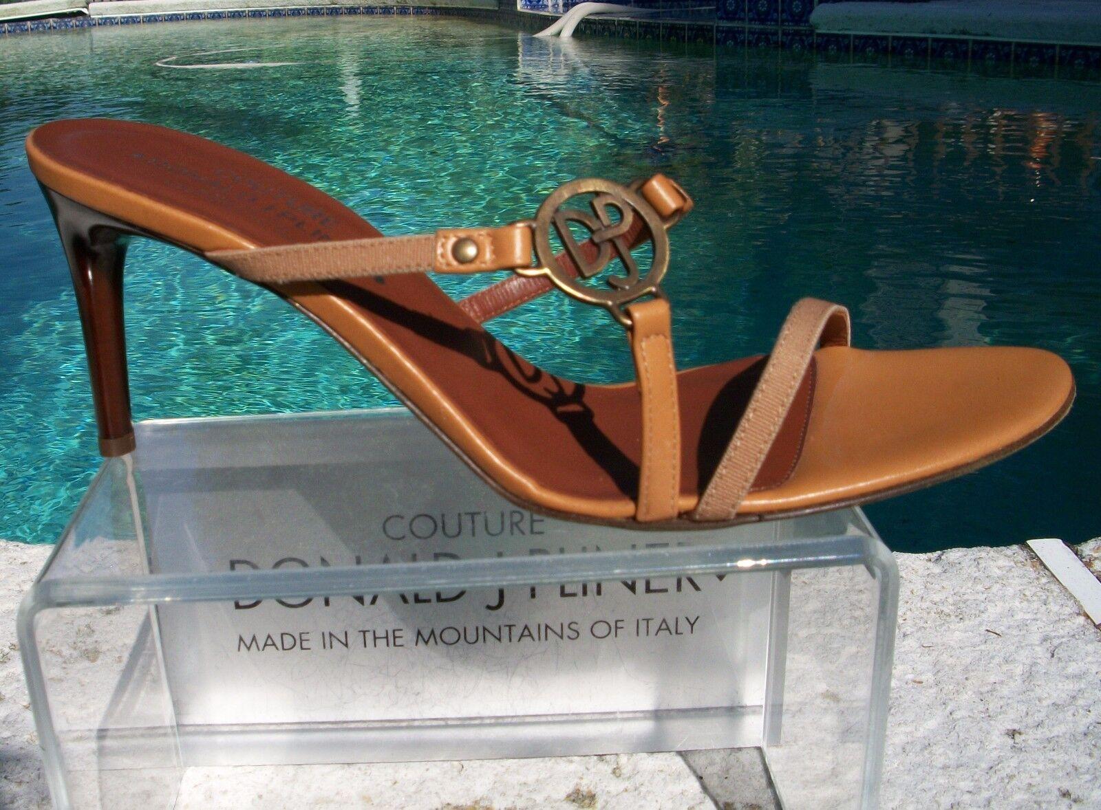 Donald Pliner Couture Camel Leather shoes New Sz 10 Strapy Sandal Slide  235 NIB