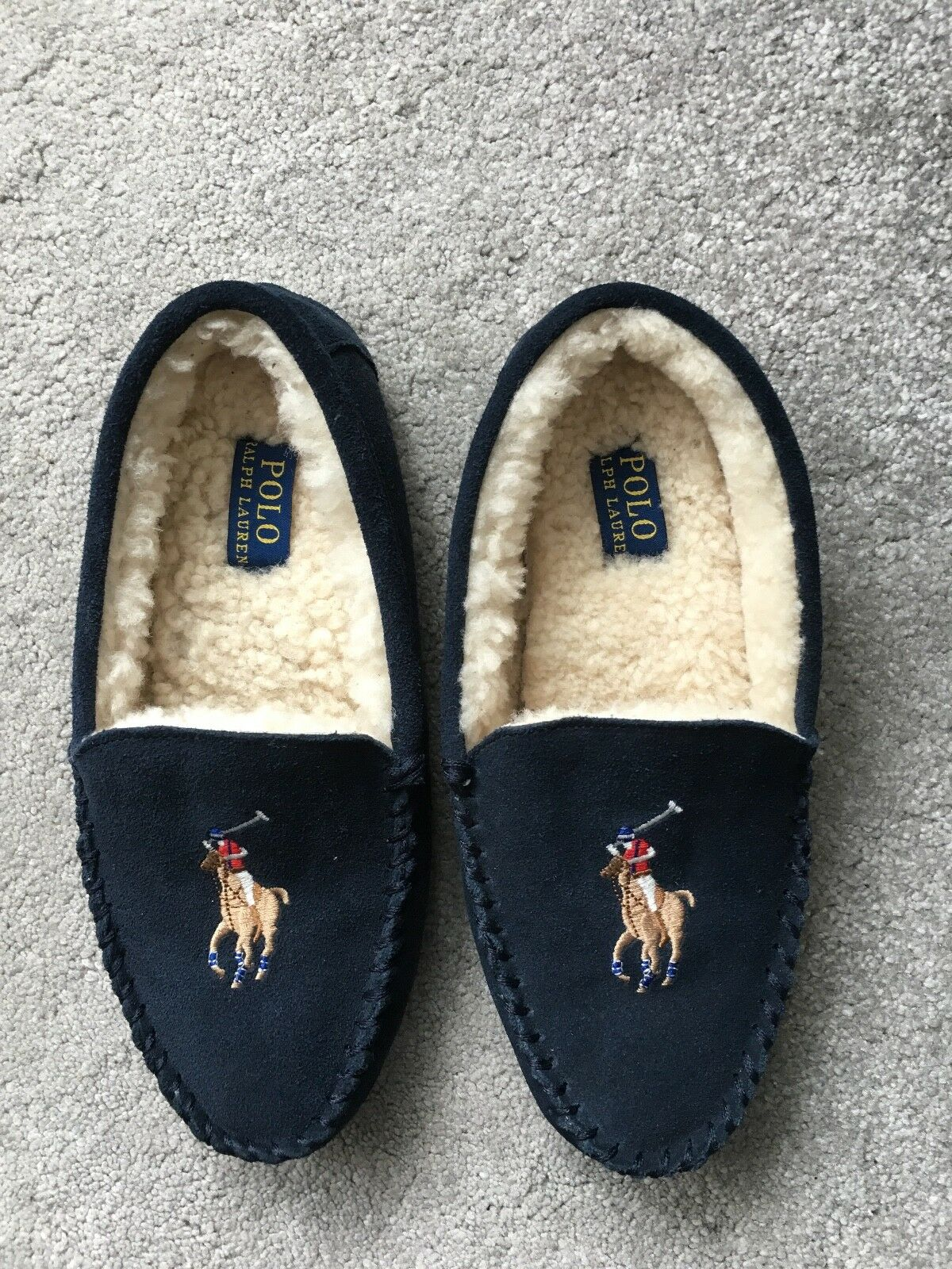 Ralph Lauren bluee Leather suede shearling slippers size 6, Eur  40,(25.5 cm)