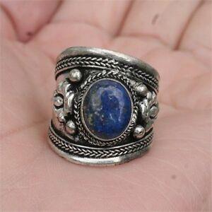4f8e3a77f04ba Details about Large Wide Adjustable Tibetan Big Oval Lapis Lazuli Gemstone  Dorje Amulet Ring