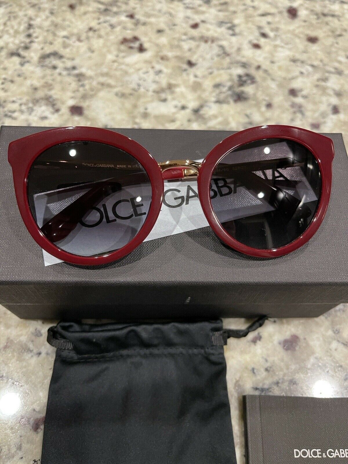 Authentic Dolce &Gabbana DG 4268 Red Gold Sunglasses 52*22*140 Box Papers