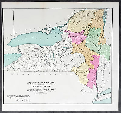 Map Of New York Rivers.1889 George Rafter Antique Map The Rivers Of New York State Lake Ontario Erie Ebay