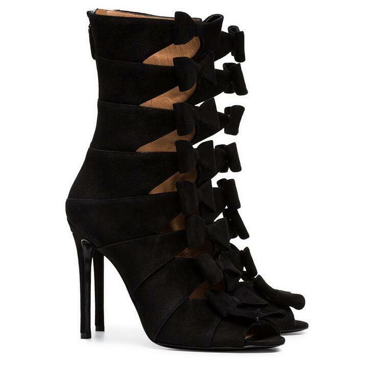 New Arrival Womens Summer Booties Bowknot Bowknot Bowknot Zipper High Heels Roman Sandals shoes e4d26d