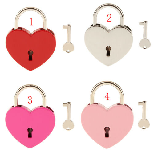 Red L Vintage Alloy Heart Shape Padlock with Key Suitcase Diary Kids Gift