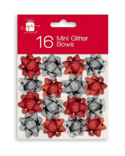 16 x Mini Christmas Birthday Wrapping Glitter Gift Bows Red /& Silver
