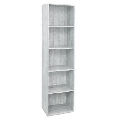 Divina Home Libreria 5 ripiani bianca scaffale in legno arredamento DH52197