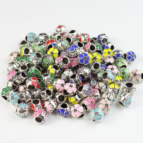 10X émail fleur Silver Big Hole Spacer Charme Perles 10 mm Pour European Bracelet
