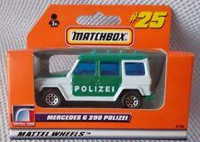 "MERCEDES G 290 POLIZEI  (3"" Long)  MATCHBOX #37704 (1998)  RARE GERMAN ISSUE #25"