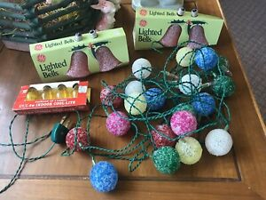 Vintage Lot C7 GE LIGHTED Glitter Sugar BELL & Frosted Ice ...