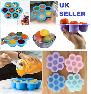 Silicone-Weaning-Baby-Food-Freezer-Tray-7-Pots-Storage-Container-w-Lid-BPA-Free