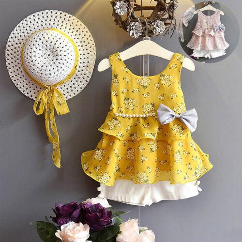 Kinder Kleidung Mädchen Chiffon Outfits Set Hut T-Shirts Hose Sommer Anzug Neu
