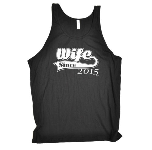 cheap Funny Novelty Vest Singlet Top - Wife Since 2015 get discount