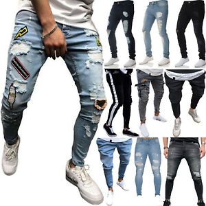 Men-Ripped-Biker-Skinny-Jeans-Frayed-Pants-Casual-Slim-Fit-Jogger-Denim-Trousers