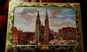 1990 E. Otto Schmidt XLarge Hinged Cookie Tin & Picture For Framing Nurnberg
