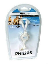 NEW Philips SJM2604 Universal Retractable White Stereo Earbuds Headphone