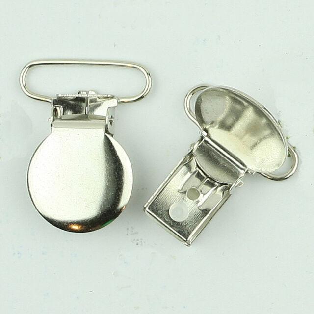 Round Faced Pacifier Clips/ Suspender Clip 1 INCH Round Metal Dummy/Paci Holder