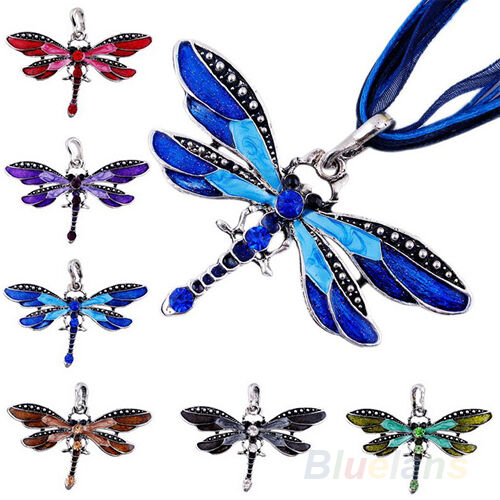 Womens Foxy Dragonfly Charms Chain Rhinestone Inlay Gemtone Necklace