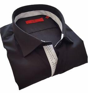 buy online 22938 85e2d Details zu Herrenhemd Luigi Camicie Hemd, schwarz, langarm, Slim FIT,  1651.1081.2