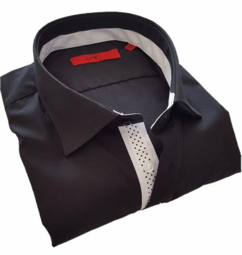 Uomo Camicia Luigi chemises camicia, Nero, manica lunga, slim fit, 1651.1081.2