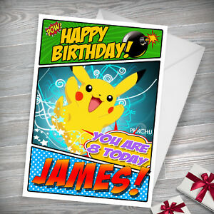 Image Is Loading PIKACHU POKEMON Personalised Birthday Card FREE Shipping High