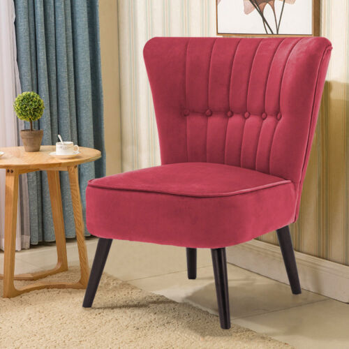 Bedroom Cosy Accent Chairs Crushed Velvet Upholstered Button Backed Lounge Seats