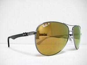 a5a10246bb new RAY BAN CARBON FIBER Sunglasses RB8313 004 N3 Gunmetal Gold ...