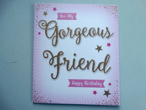 Gorgeous Friend Birthday Colour Me Happy Gold Flitter Design Good Quality Card