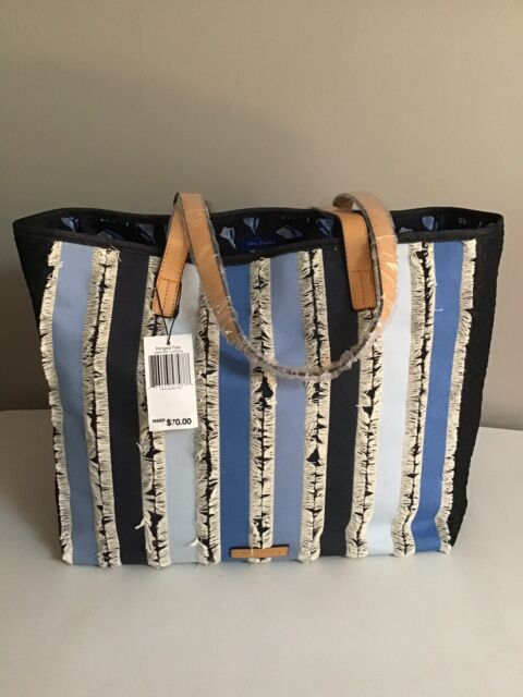NWT Vera Bradley Women's Fringed Tote Cool Stripe Denim With Faux Leather Trim