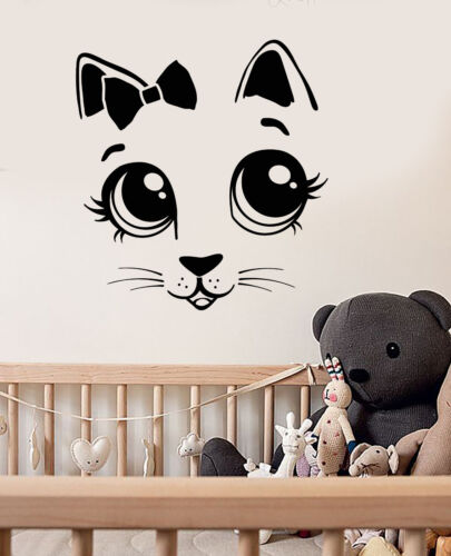 Vinyl Wall Decal Cartoon Cat Kitten Bow Tie Children/'s Room Stickers 3042ig