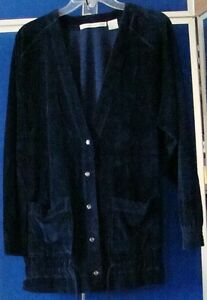 EUC-Beautiful-FIRST-ISSUE-Velour-CARDIGAN-Navy-with-pockets-amp-Drawstring-Sz-S-L