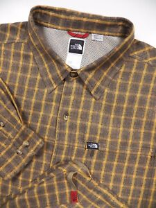 721d597af Details about THE NORTH FACE MENS XL CASUAL SHIRT HIKING OUTDOORS BROWN  ORANGE CHECK RAYON