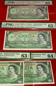2-CONSECUTIVE-1967-Replacement-Star-BC-45bA-i-BANK-OF-CANADA-1-PMG-GRADED