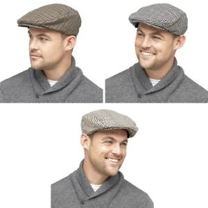 7cfc5c3b144 Mens Flat Cap Traditional Check Tweed Peak Golfing Caps Classic Dads ...