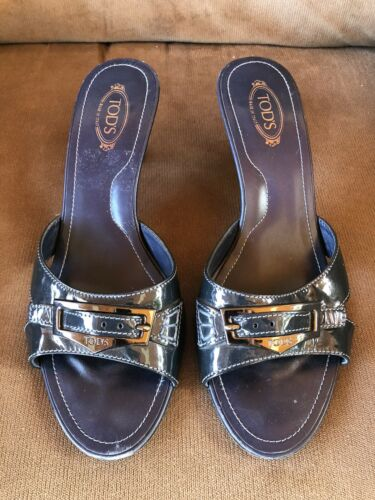 TOD'S blue Patented Leather kitten heel slides san