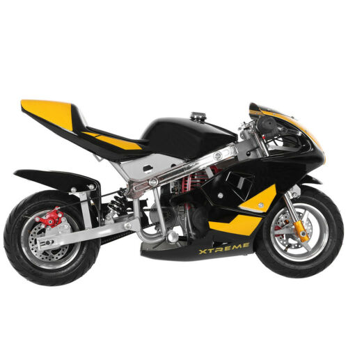 Details about  /Mini Gas Power Pocket Bike Motorcycle 49cc 4-Stroke Engine For Kids Teens Yellow