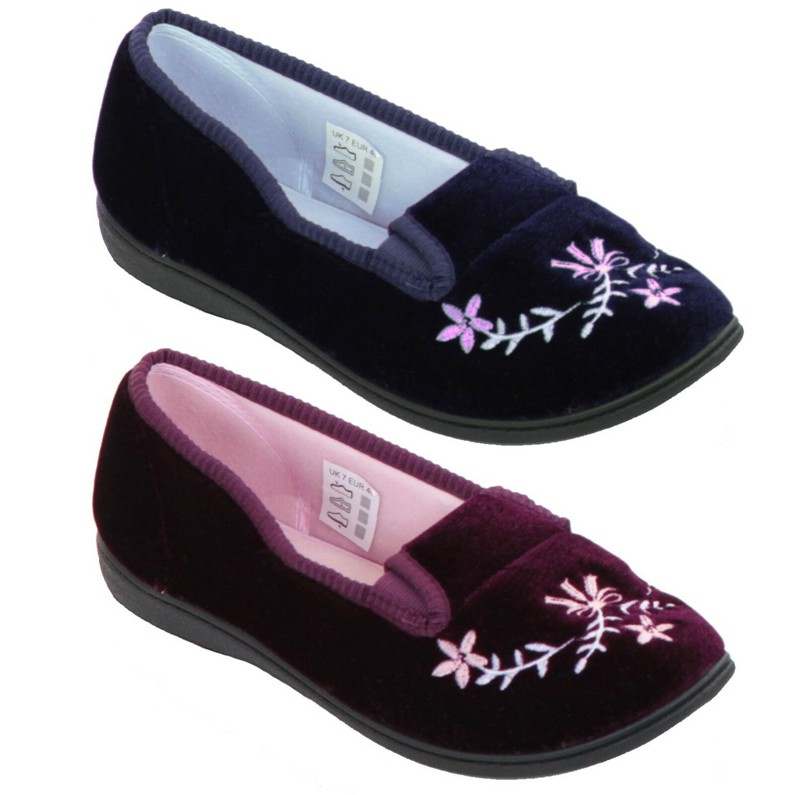 Ladies Low Wedge Soft Cushioned Slip On Floral Embroidered Luxury Slippers