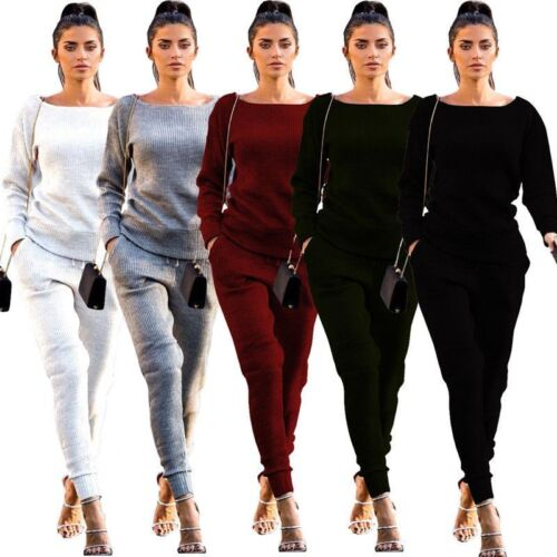 Women Tracksuit 2 Pieces Autumn Casual Knitted Solid Sportswear Sweatshirts Sets