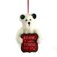 Boyds Christmas Ornament Plush-5 Snowbear Frosty-snow Better Friend Sign New/11