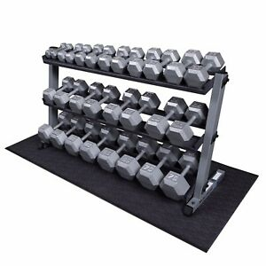 Details about Body-Solid 5-70 lb Hex Dumbbell Set, Rack, Mat - Home Gym &  Commercial Fitness