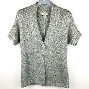 Loft-Ann-Taylor-Women-S-Cardigan-Jacket-Sweater-Cable-Knit-Short-Sleeve