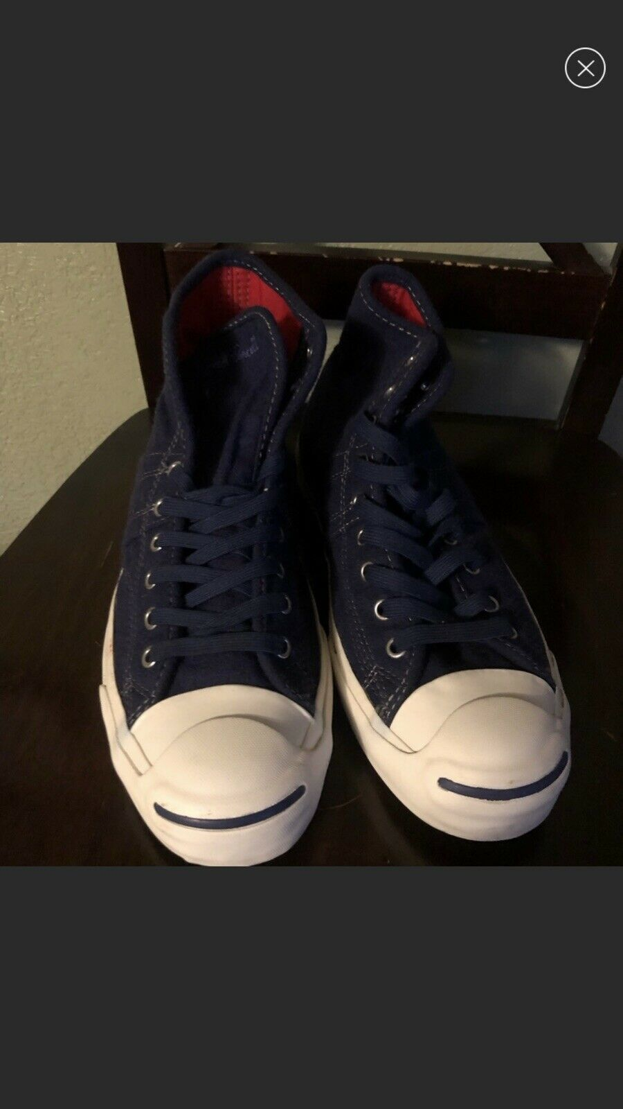 Men's Converse Jack Purcell bluee Red Interior Wool Like Material Size 9.5