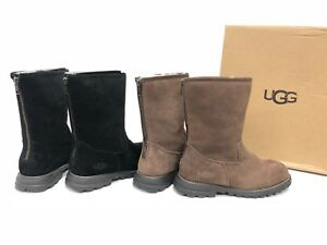 6f85163a045 Details about UGG Australia Langley Tall Black Chocolate Leather Sheepskin  Boots Zip 1016040