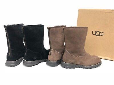 3dfc5dd5890 UGG Australia Langley Tall Black Chocolate Leather Sheepskin Boots Zip  1016040 | eBay