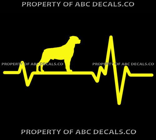 HEART BEAT LINE DOG ROTTWEILER ROTTY ROTT Puppy Adoption Rescue CAR VINYL DECAL