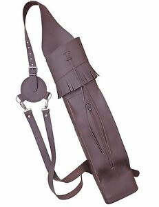 BROWN LEATHER BACK ARROW QUIVER ARCHERY PRODUCTS BFAQ8316 MILD.