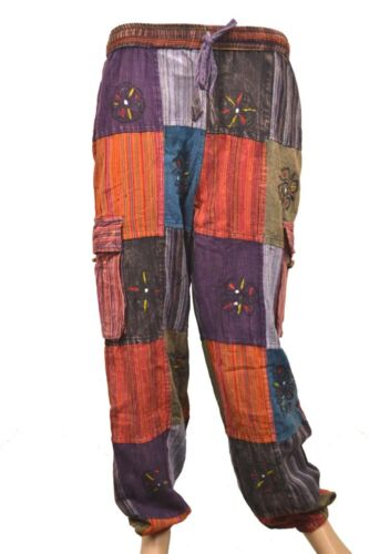 Fair Trade Cotton Patch Yoga Pants Natural Summer Trouser Multi Block Printed1