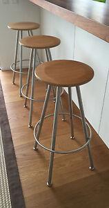 barhocker bulthaup 3 st ck duktus edelstahl buche hoch original ebay. Black Bedroom Furniture Sets. Home Design Ideas